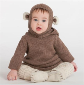 Baby with animal hoody
