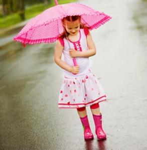 raind dance with umbrella - all pink
