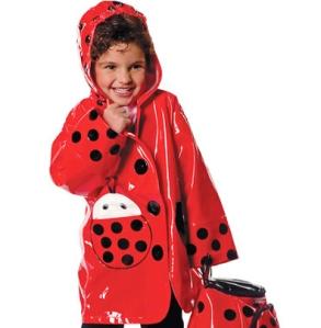 red lady bug raincoat